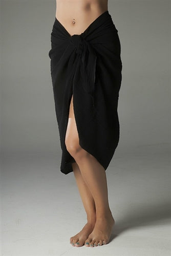 Crinkle Cotton Long Sarong Black