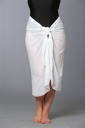 Plus Size Cotton Crinkle Cotton Long Sarong White (1X to 3X)