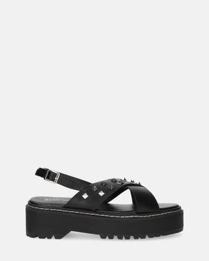 ISABEL - black platform sandals with studs - QUANTICLO