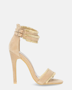 INGRID - heeled sandals in nude suede - QUANTICLO