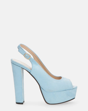 ROBY - heeled sandal in light blue suede - QUANTICLO