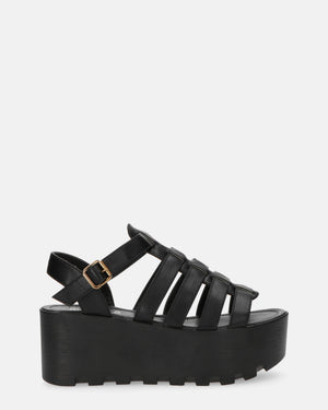 MEGHAN - cleated sole flatform in black - QUANTICLO