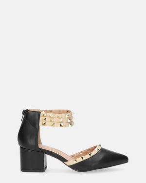 HELENA - mid heeled shoes in black pu with studs - QUANTICLO