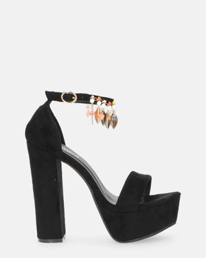 ARLENE - heeled sandals in black with decoration - QUANTICLO