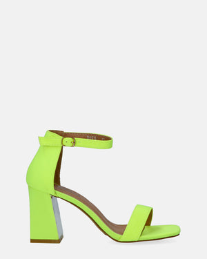 DANIEL - block heel sandals in yellow with silver details - QUANTICLO