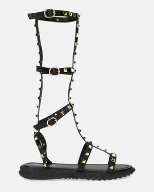 KIMBLY - black strap sandals with golden studs - QUANTICLO
