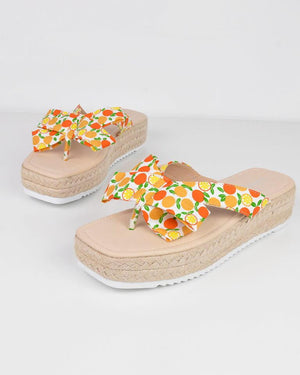 AVICE - sandals in orange print - QUANTICLO