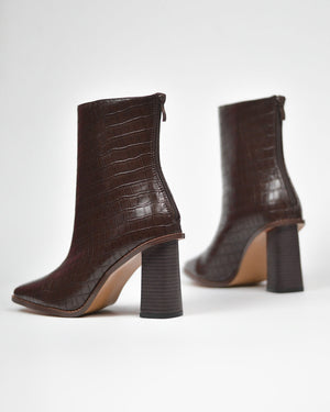 ALESHA - western ankle boots in brown snake print