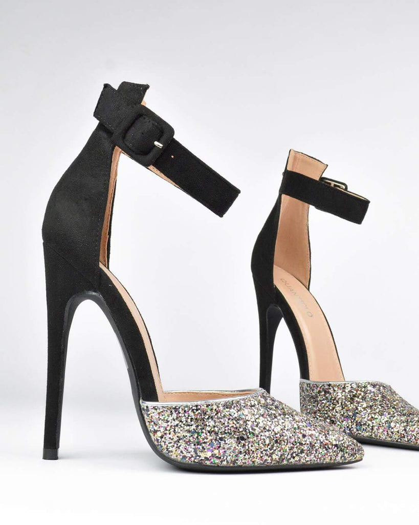 ALEXIN - High heel in glitter and black suede - QUANTICLO