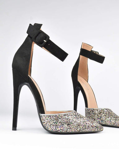 ALEXIN - High heel in glitter and black suede