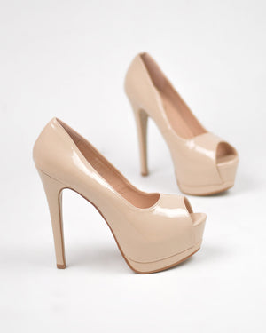CLEO - décolleté platform open toe in nude