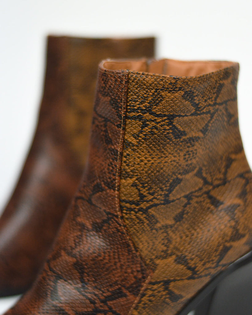 CORAL - western ankle boots in brown + beige snake print