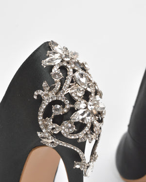 QUANTICLO New Year's Eve - GINGER diamante details stiletto heels in black satin