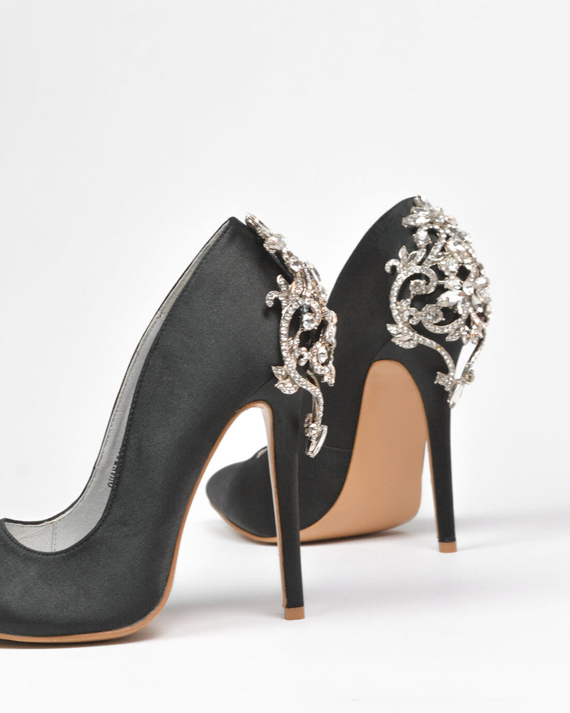 QUANTICLO New Year's Eve - GINGER diamante details stiletto heels in black satin - QUANTICLO
