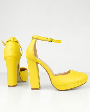 HINA - ankle strap heels in yellow