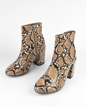 IRENE - ankle boots in beige snake - QUANTICLO