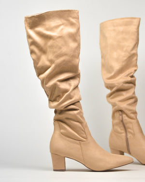 JORJA - high boots in nude suede - QUANTICLO