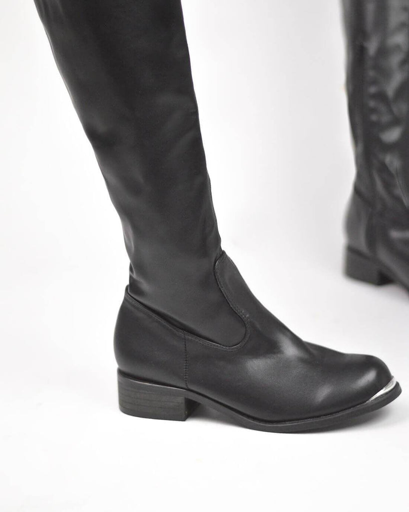 LICIAH - over the knee boots in black with metalic point - QUANTICLO