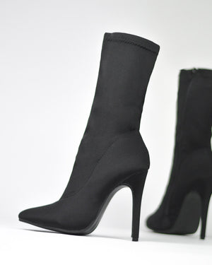 MARYL - pointed ankle boots in black lycra