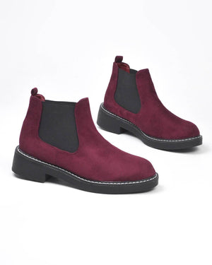 SORAYA - burgundy suede ankle boots - QUANTICLO