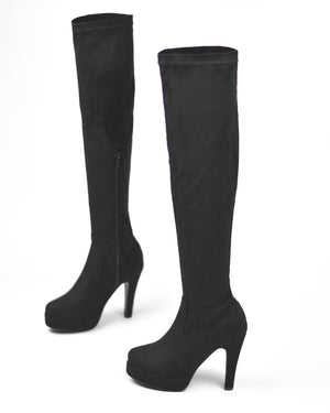 JORDY - platform over the knee boots in black suede