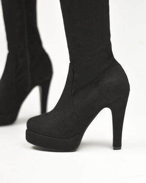 JORDY - platform over the knee boots in black suede - QUANTICLO