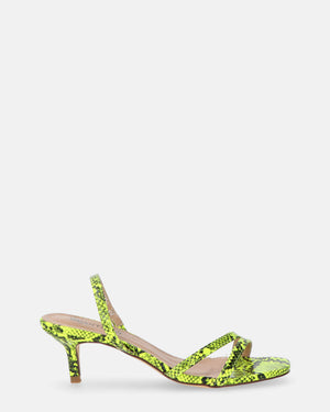 ANNEL - Kitten Heels in yellow snake - QUANTICLO