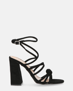 LOAN - heeled sandals in black suede with laces - QUANTICLO