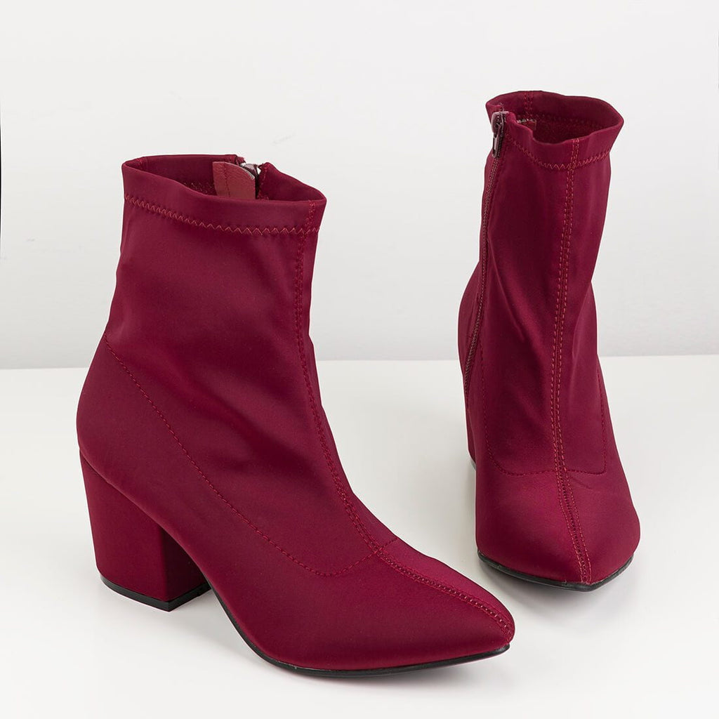 ALEX - pointed boots in burgundy