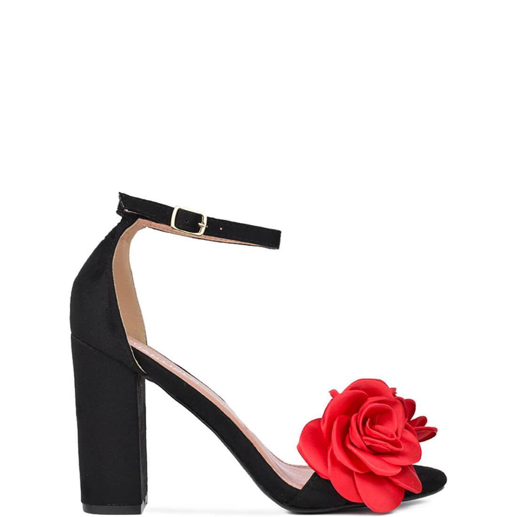 02da6263b23 ANNIE - black ankle strap heeled sandals with roses