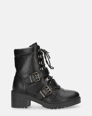 HAIDEE - black lace ankle boots - QUANTICLO