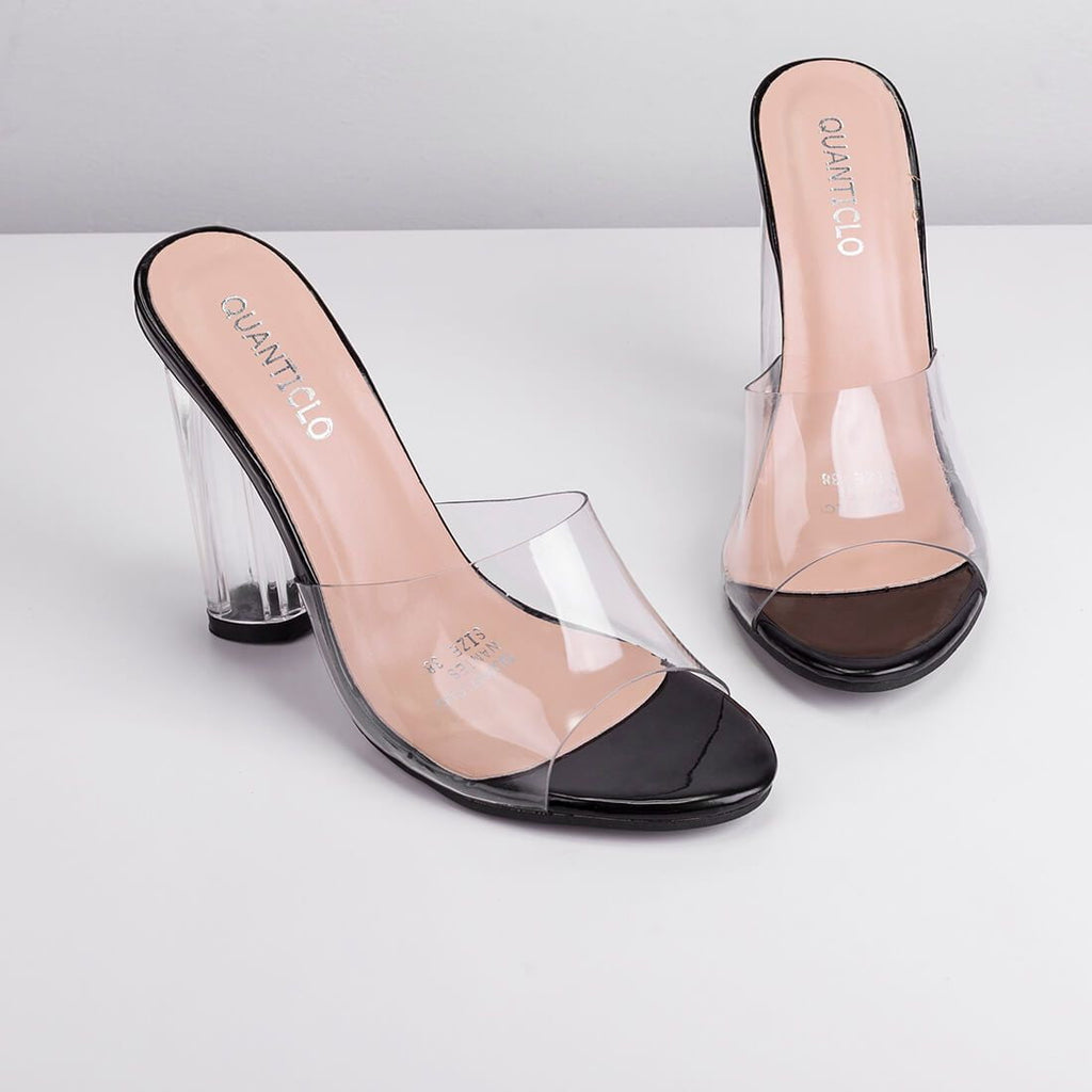 NANTES - perspex mules with black details
