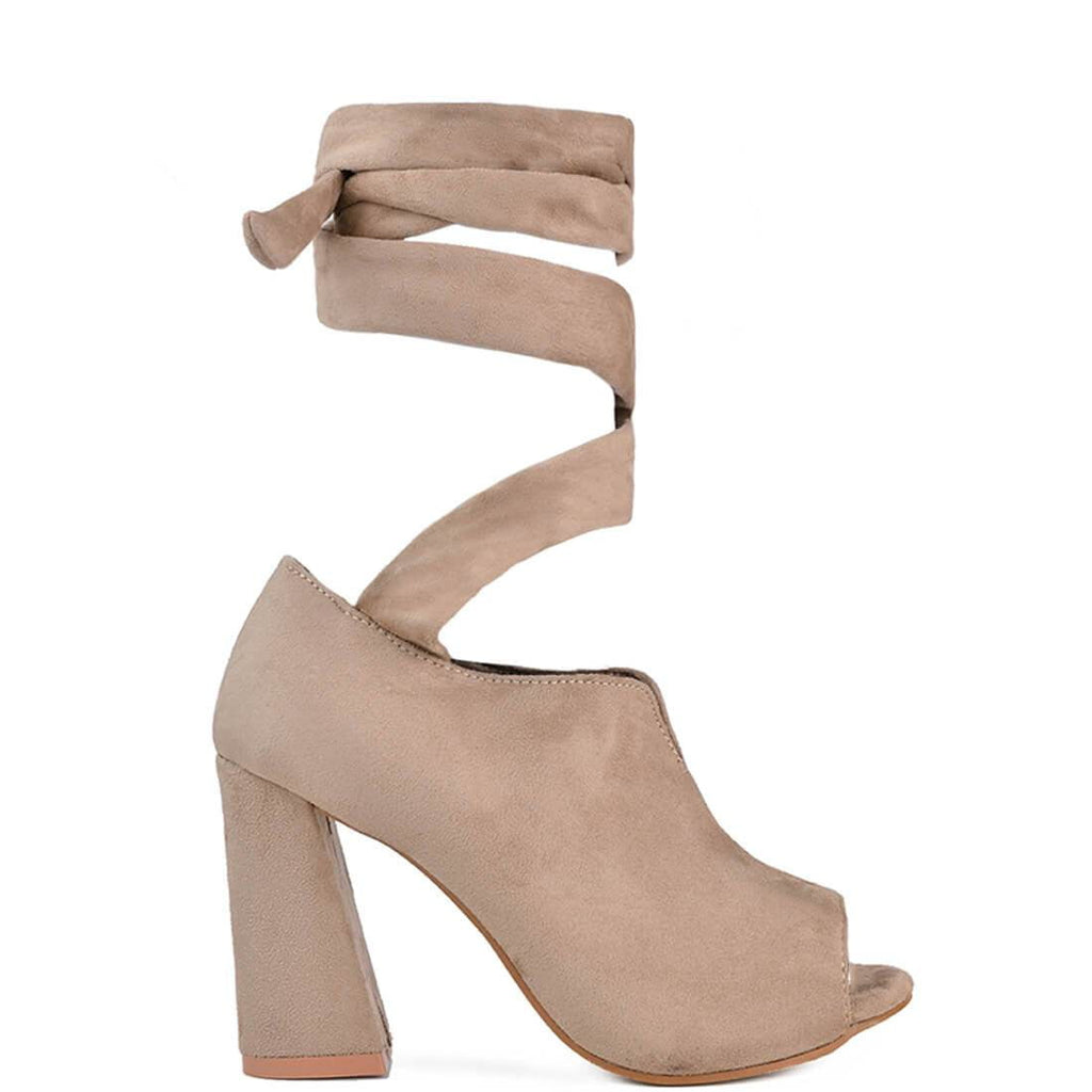 CAROL - lace up heeled shoes in nude