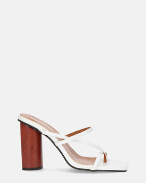 AMPARO - mules in white with wood heel - QUANTICLO