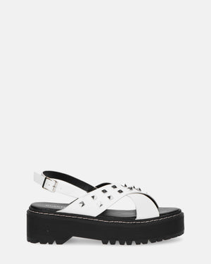 ISABEL - white platform sandals with studs - QUANTICLO