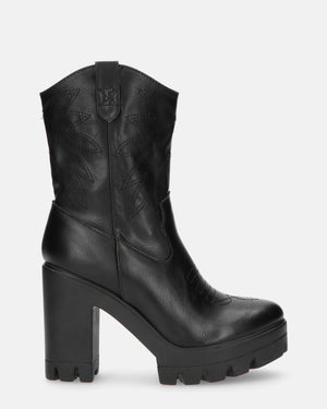 KAY - platform western boots in black - QUANTICLO