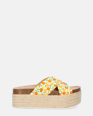 CARMEN - straw sliders with orange print - QUANTICLO