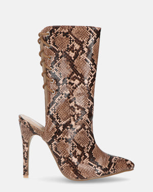 STEF - lace up heels in beige snake - QUANTICLO