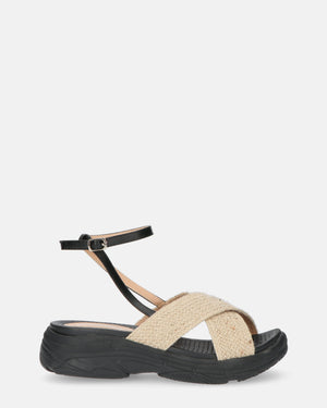 MIN - black sandals with straw details