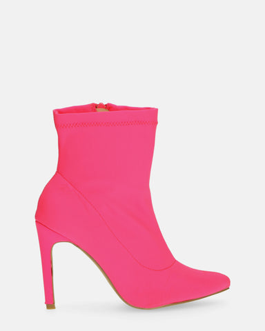 SHERRIE - heeled boots in fuchsia lycra - QUANTICLO
