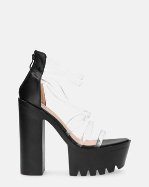 ASSIA - cleated sole platform sandals with perspex details - QUANTICLO