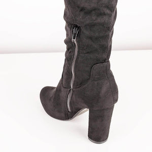 FLORIE - black suede ruched high boots