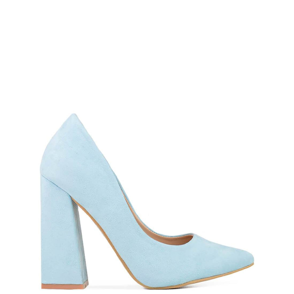HALLIE - block heel court shoe in light blue