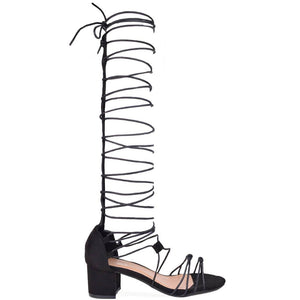 JANE -lace up midi heeled sandals in black