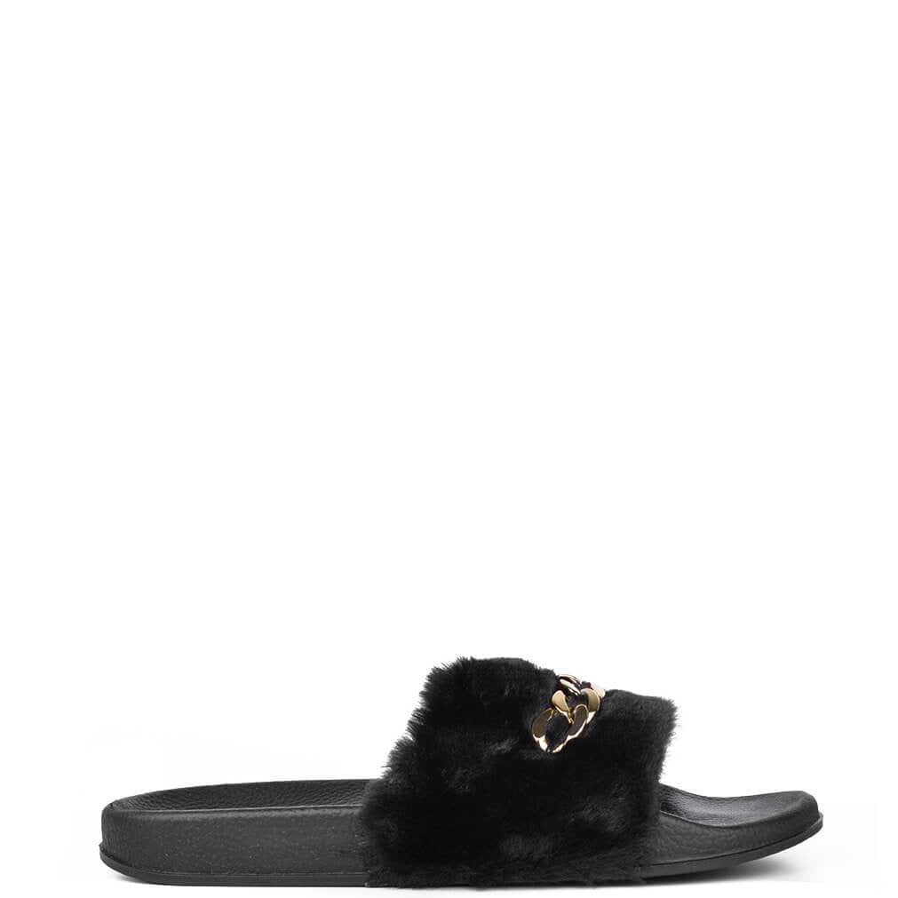 KELSI - black fur sliders with gold chain