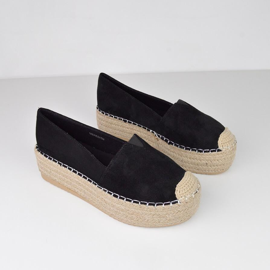 MEREDITH - flatform espadrille in black