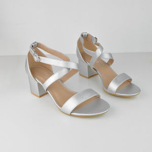 MOLLY - mid heel sandals in silver
