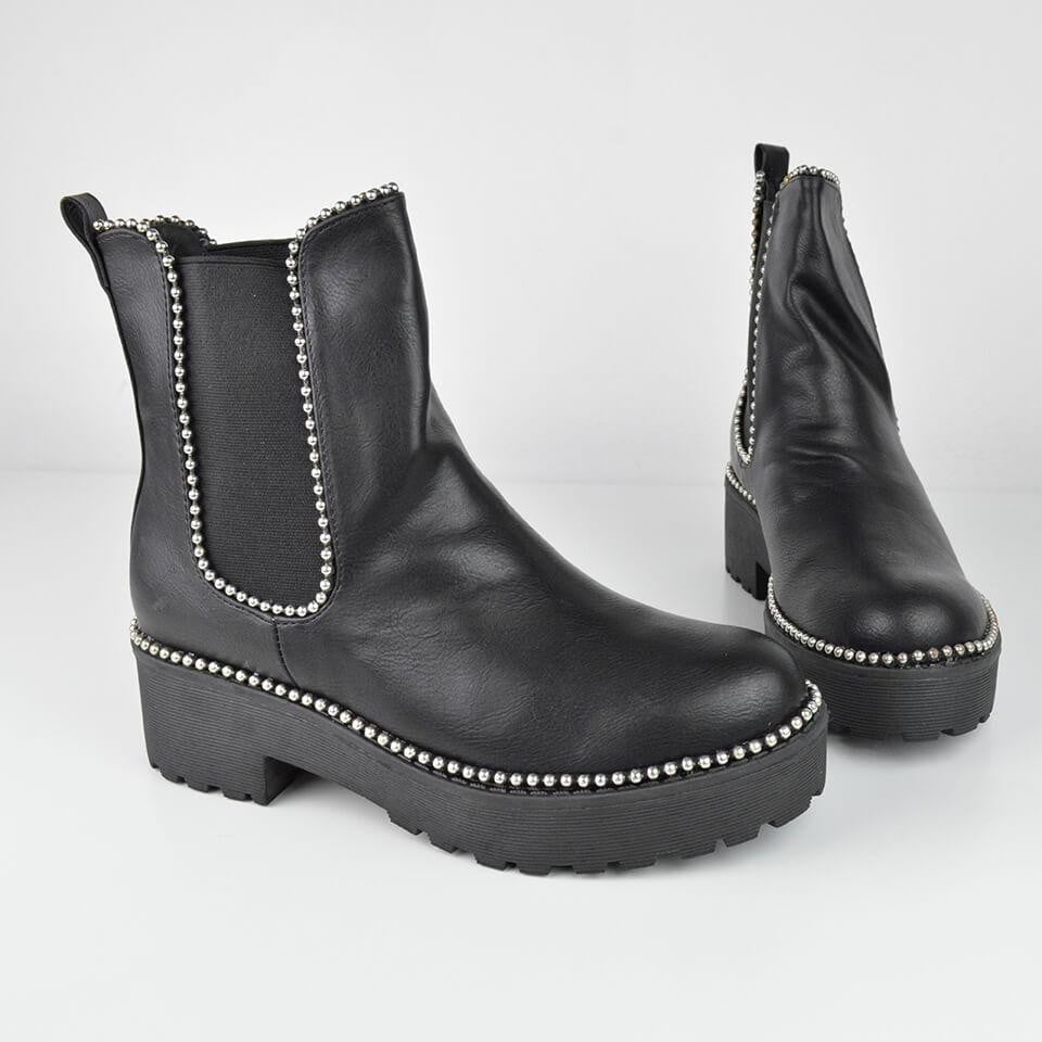 CLEA - silver studded chelsea boots