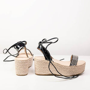DENA - lace espadrille sandals in black