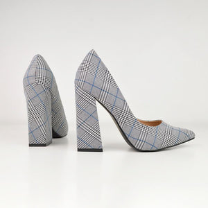 HALLIE - block heel court shoe in tartan
